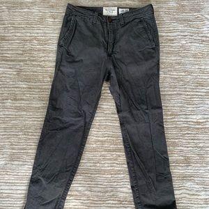 Men's Abercrombie Taper Dark Grey Chinos